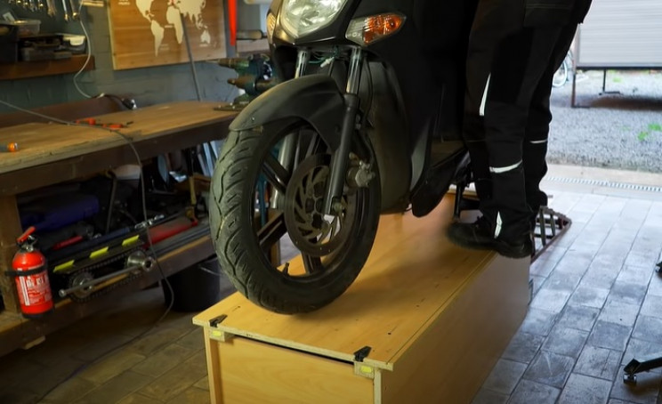 futuristic scooter workbench