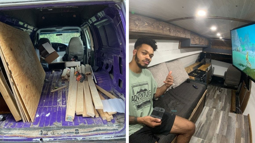 Craftsman Builds Off-Grid Solar Tiny House inside a Van in 2 Months