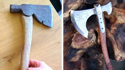 Craftsman Turns a Rusty Hatchet Into a Miniature Battle-Axe