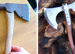 Craftsman Turns a Rusty Hatchet Into a Miniature Battle-Axe