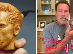 Woodcarver Gifts Arnold Schwarzenegger a Pipe Shaped like the Terminator
