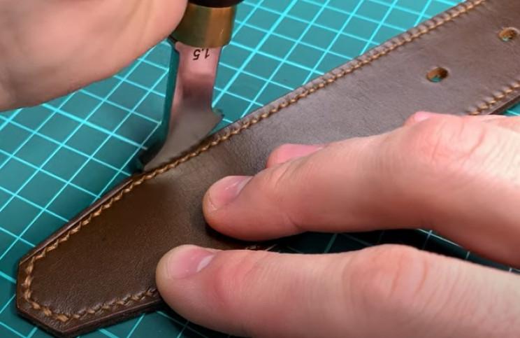 diy leather belt groove