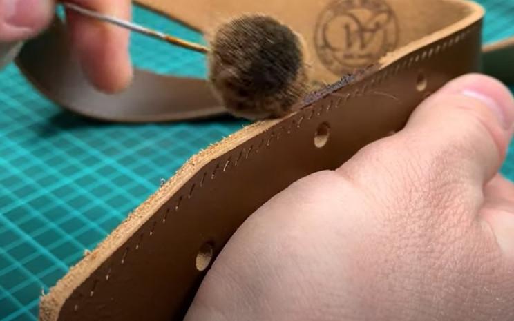 diy leather belt stain edges