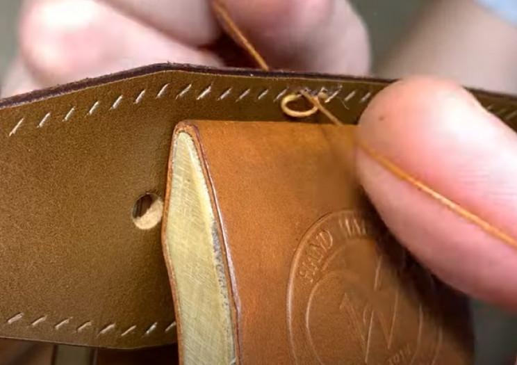 diy leather belt stitch