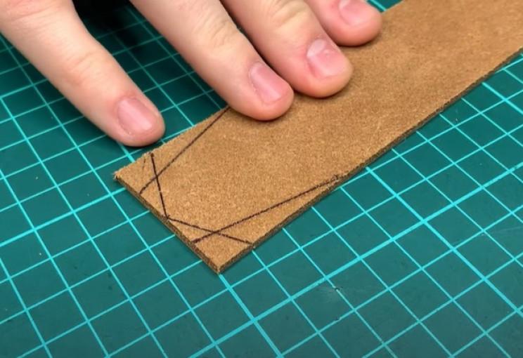 diy leather belt tapered edge