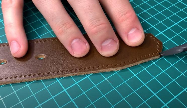 diy leather belt trim edges