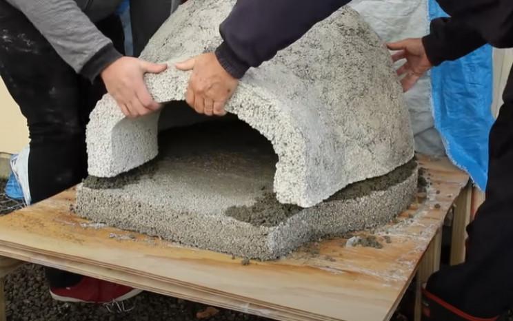 diy pizza oven concrete pieces