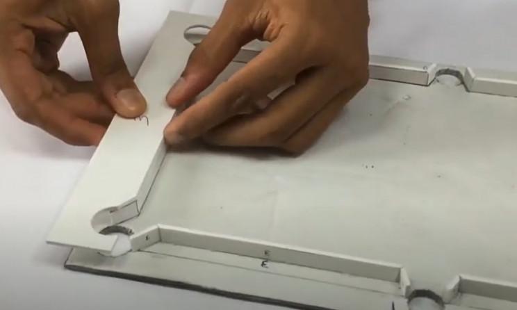 diy cardboard tool table glue rails