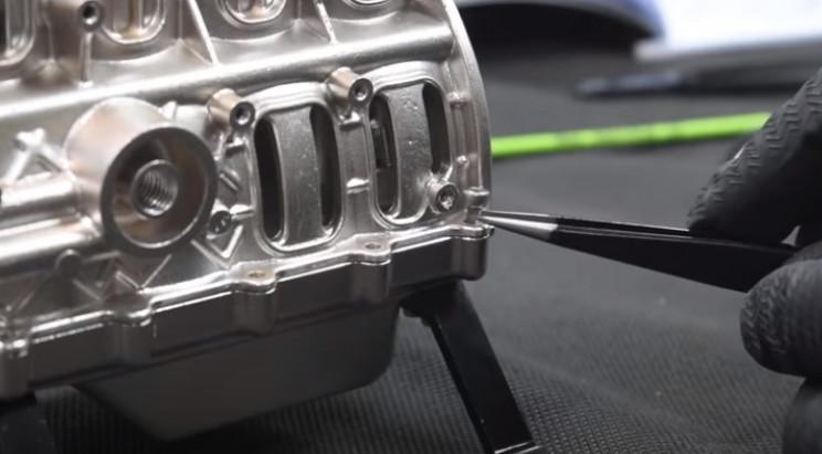 v4 engine model oil pan
