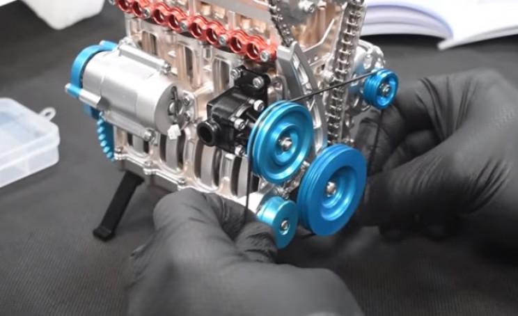 v4 engine timing belt in place