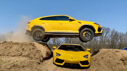 YouTuber Jumps His Lamborghini Urus Over an Aventador