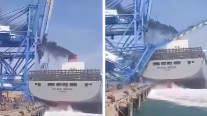 Huge Cargo Ship Completely Demolishes A Port Crane In Freak Accident