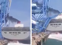 Huge Cargo Ship Completely Demolishes A Port Crane In Freak Accident