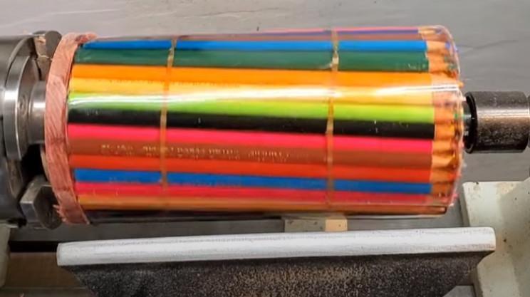 diy pencil vase secure in lathe