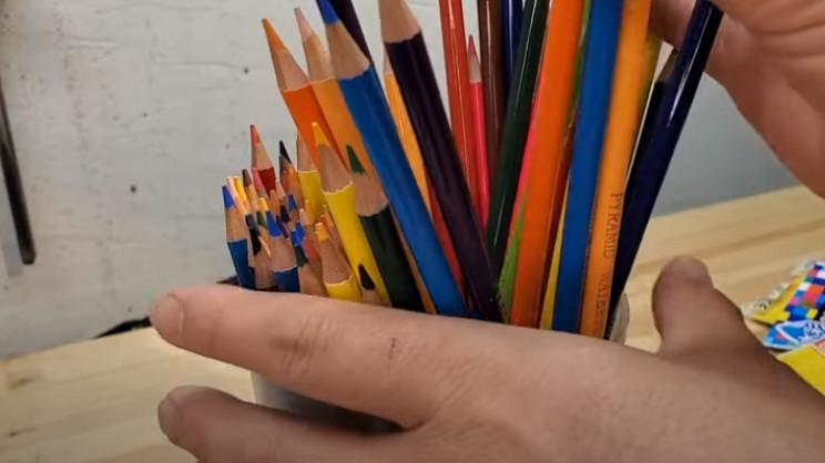 diy pencil vase in jug
