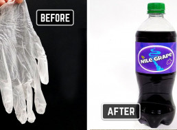 Amateur Chemist Turns Plastic Glove Into Grape Soda