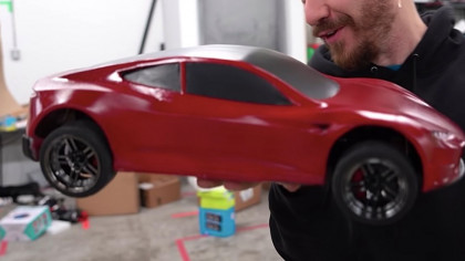 This YouTuber 3D Printed a Mini 70 MPH Tesla Roadster