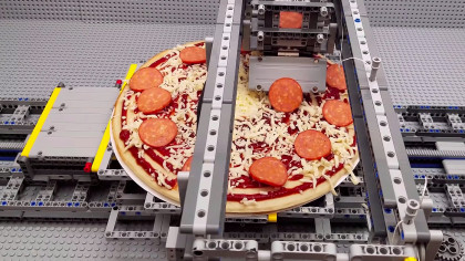 LEGO Aficionado Builds Robotic Factory and Bakes Pizza In it