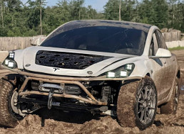 YouTubers Turn Wrecked Tesla Model 3 Into Off-Road Machine Fit for Mad Max