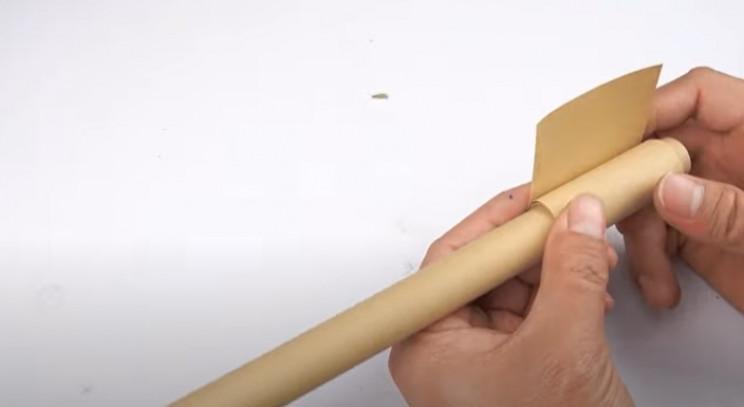 diy carboard tommy gun barrel build
