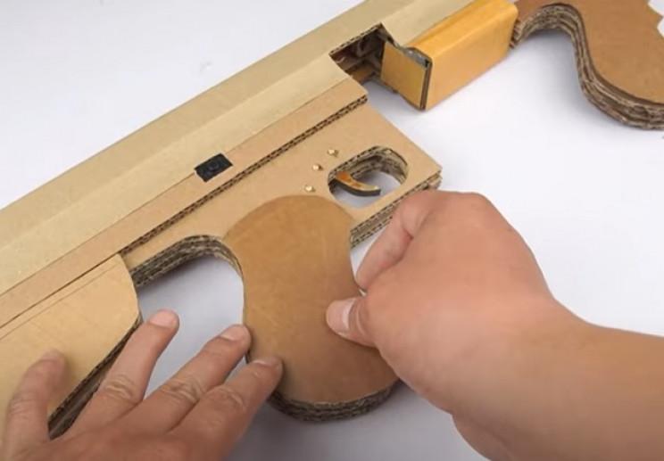 diy cardboard tommy gun build up grip