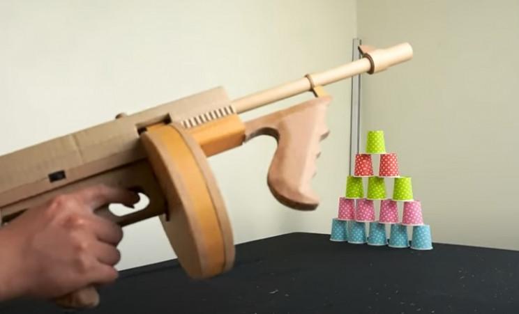 diy cardboard tommy gun complete