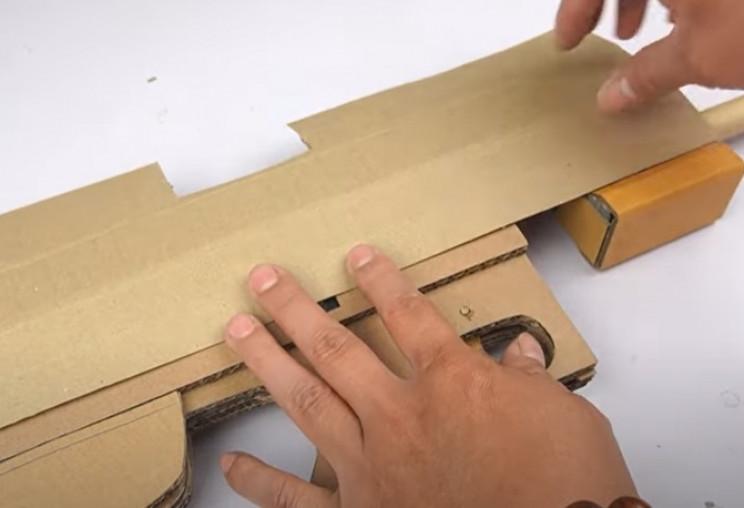 diy cardboard tommy gun top
