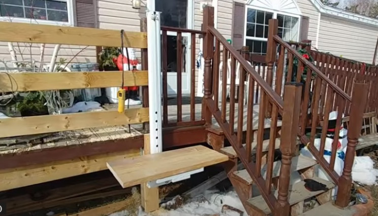 diy porch lift completed