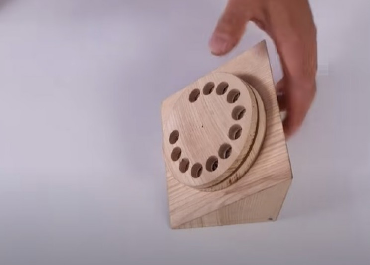 wood antique phone rotary dial