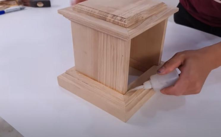 wood antique phone glue base