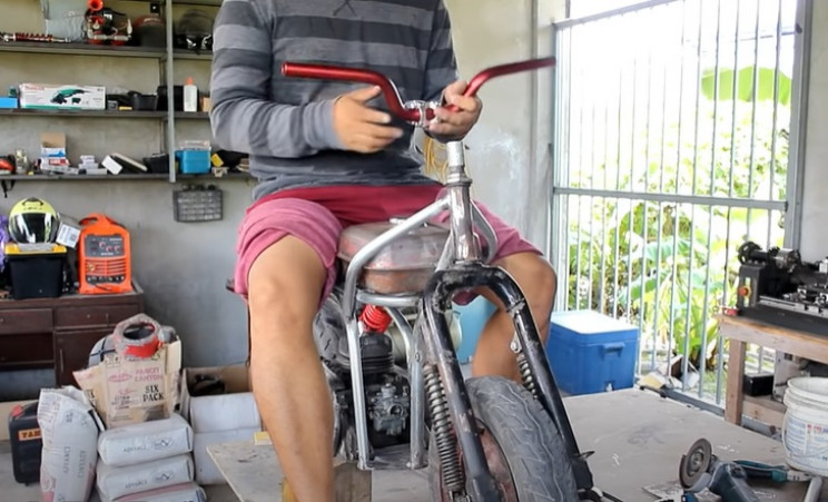 diy minibike new seat and handlebars