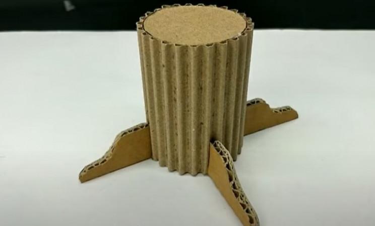 diy cardboard game 2 tree trunk