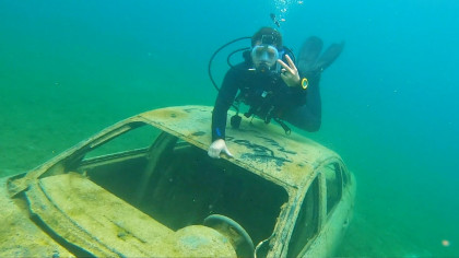2 Guys Dived into a Rock Quarry and Discovered a Sunken Boat and a Car at 70 Feet Deep