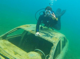 2 Guys Dove into a Rock Quarry and Discovered a Sunken Boat and a Car at 70 Feet Deep