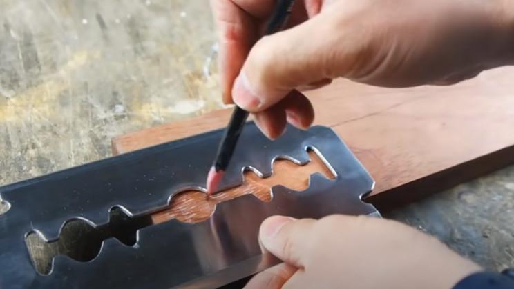 diy handle for giant razor wood