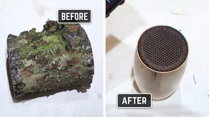 Expert Woodturner Turns an Apple Log Into a Bluetooth Mono Speaker