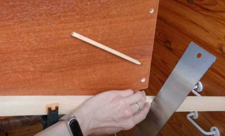 diy floating table cut wood