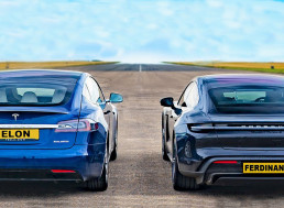 EV Showdown - Tesla Model S Raven with Cheetah vs. Porsche Taycan Turbo S