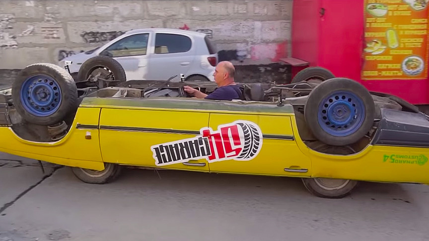 This Fully Functional Upside-Down Car Makes All the Heads Turn