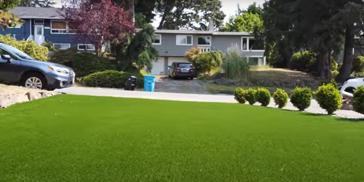synthetic lawn install complete