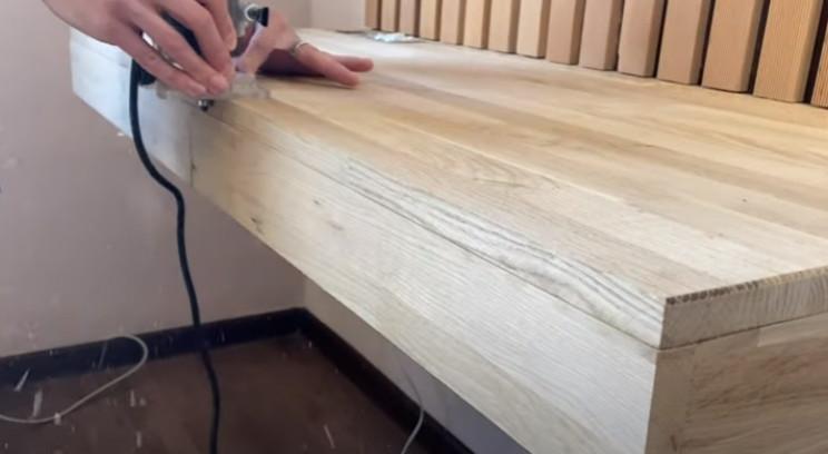 diy floating desk route edges