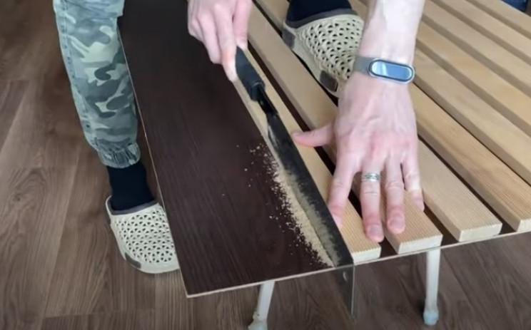 diy floating desk backboard