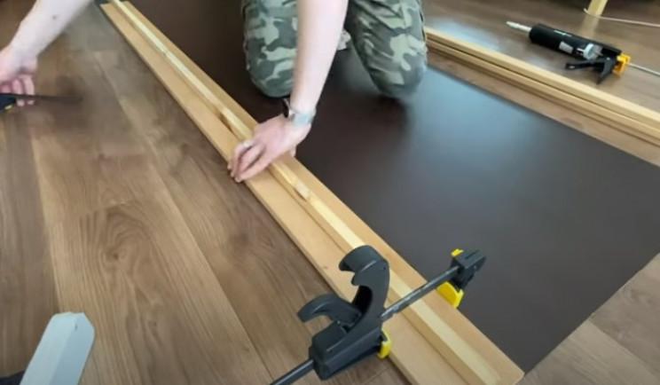 diy floating desk next slat clamp