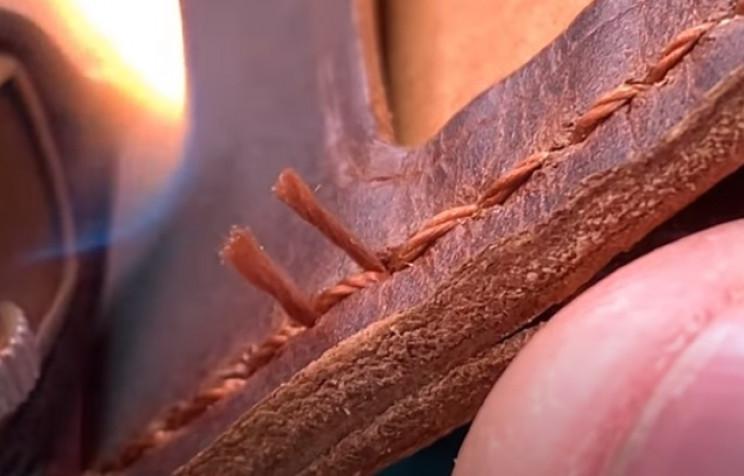 diy leather wallet burn threads