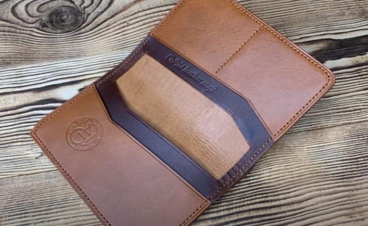 diy leather wallet passport holder complete