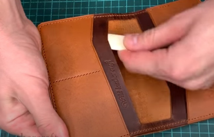 diy leather wallet passport holder open compartments
