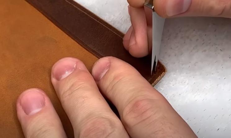 diy leather passport holder punch seams