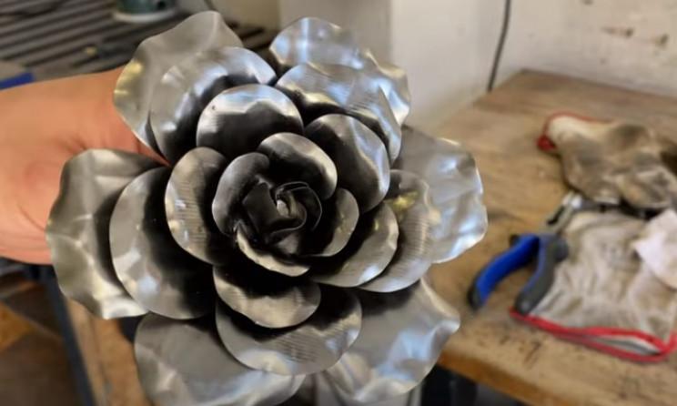 diy steel rose final look