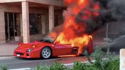 1.4 Million Dollar Vintage Ferrari F40 Goes up in Flames in Monaco