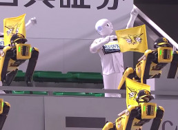 Spot and Pepper Robots Army Sing and Dance to Cheer for Baseball Team